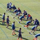 France's rugby national team players attend a training session in Nice, on February 21, 2017 to prepare for the upcoming 6 Nations rugby union match against Ireland. / AFP / VALERY HACHE (Photo credit should read VALERY HACHE/AFP/Getty Images)