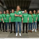 4 April 2017; Republic of Ireland Women's National Team captain Emma Byrne, centre, with team-mates, from left, Karen Duggan, Aine O'Gorman, Claire Shine, Niamh Fahey, Jetta Berril, Ruesha Littlejohn, Niamh Reid-Burke, Katie McCabe, Julianne Russell, Megan Campbell, Diane Caldwell, Stephanie Roche, and Louise Quinn following a women's national team press conference at Liberty Hall in Dublin. Photo by Cody Glenn/Sportsfile