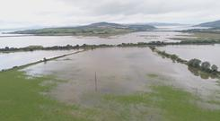 Aerial view of flooding in Donegal