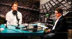Luke Fitzgerald and Paul Kimmage taking part in 'The Left Wing' Podcast at Independent.ie. Pic Steve Humphreys