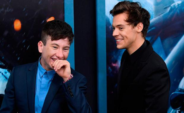 Barry Keoghan and Harry Styles attend the Warner Bros. Pictures 'DUNKIRK' US premiere at AMC Loews Lincoln Square on July 18, 2018 in New York City. / AFP PHOTO / ANGELA WEISSANGELA WEISS/AFP/Getty Images