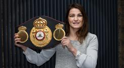 WBA World Lightweight Champion Katie Taylor at a press conference in the IFC with her Championship belt. Photo: Tony Gavin 31/10/2017