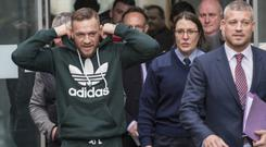 Thursday 30 November 2017. Blanchardstown District Court: Conor McGregor departs after hearing over a speeding offence.