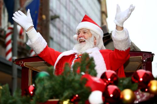 Christmas begins in Dublin City Centre. Santa Claus pictured as he arrives at Arnotts store on Dublins Henry Street. Picture; Gerry Mooney