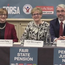 Maureen Fahy, Joan McLoughlin and Justin Moran pictured at a meeting held by Age Action, the National Women's Council of Ireland, the Irish Countrywomen's Association, Fórsa, SIPTU, Active Retirement Ireland, Pensioners for Equality