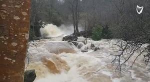 The flooded Glenbarrow Waterfall raging down from Slieve Bloom Mountains