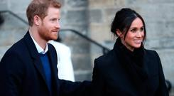 CARDIFF, WALES - JANUARY 18: Prince Harry and his fiancee Meghan Markle depart from a walkabout at Cardiff Castle on January 18, 2018 in Cardiff, Wales. (Photo by Chris Jackson/Chris Jackson/Getty Images)