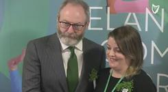 Liam Cunningham with St Patrick's Festival CEO Susan Kirby. Photo: Jason Kennedy