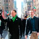 Irish Taoiseach Leo Varadkar (left) and his partner Matt Barrett walk in the St Patrick's Day parade on 5th Avenue in New York City. PRESS ASSOCIATION Photo. Picture date: Saturday March 17, 2018 Credit: Niall Carson/PA Wire