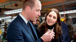 The Duke and Duchess of Cambridge inspect whistles during a visit to the factory of Acme Whistles, a family firm in Birmingham which was founded in 1870 and exports to 119 countries around the world. PRESS ASSOCIATION Photo. Picture date: Wednesday November 22, 2017. See PA story ROYAL Cambridge. Photo credit should read: Chris Jackson/PA Wire
