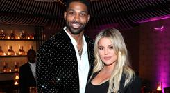 LOS ANGELES, CA - FEBRUARY 17: Tristan Thompson and Khloe Kardashian attend the Klutch Sports Group