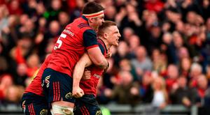 31 March 2018; Andrew Conway of Munster celebrates with team-mate Billy Holland after scoring his side's second try during the European Rugby Champions Cup quarter-final match between Munster and RC Toulon at Thomond Park in Limerick. Photo by Diarmuid Greene/Sportsfile