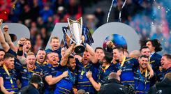 12 May 2018; Isa Nacewa and Jordi Murphy of Leinster lift the cup after the European Rugby Champions Cup Final match between Leinster and Racing 92 at the San Mames Stadium in Bilbao, Spain. Photo by Ramsey Cardy/Sportsfile