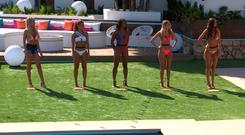 This image is strictly embargoed until 00.01 Monday 4th June 2018 From ITV Studios Love Island: SR4 on ITV2 Pictured: Laura, Dani, Samira, Hayley and Kendall. This photograph is (C) ITV Plc and can only be reproduced for editorial purposes directly in connection with the programme or event mentioned above, or ITV plc. Once made available by ITV plc Picture Desk, this photograph can be reproduced once only up until the transmission [TX] date and no reproduction fee will be charged. Any subsequent usage may incur a fee. This photograph must not be manipulated [excluding basic cropping] in a manner which alters the visual appearance of the person photographed deemed detrimental or inappropriate by ITV plc Picture Desk. This photograph must not be syndicated to any other company, publication or website, or permanently archived, without the express written permission of ITV Plc Picture Desk. Full Terms and conditions are available on the website www.itvpictures.co.uk For further information please contact: james.hilder@itv.com / 0207 157 3052