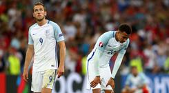 MARSEILLE, FRANCE - JUNE 11: Harry Kane (L) and Dele Alli (R) of England show their dejection after their 1-1 draw in the UEFA EURO 2016 Group B match between England and Russia at Stade Velodrome on June 11, 2016 in Marseille, France. (Photo by Lars Baron/Getty Images)