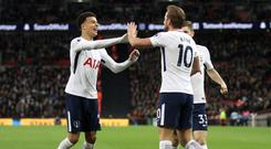 LONDON, ENGLAND - APRIL 30: Harry Kane of Tottenham Hotspur celebrates after scoring his sides second goal with Dele Alli of Tottenham Hotspur and Ben Davies of Tottenham Hotspur during the Premier League match between Tottenham Hotspur and Watford at Wembley Stadium on April 30, 2018 in London, England. (Photo by Tottenham Hotspur FC/Tottenham Hotspur FC via Getty Images)