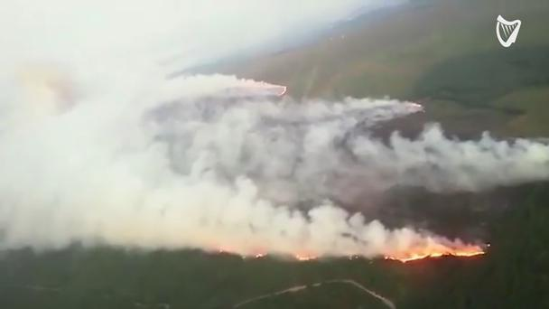 Aerial footage of the blaze on Slieve Bloom