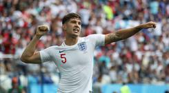 NIZHNY NOVGOROD, RUSSIA - JUNE 24: John Stones of England celebrates after scoring the opening goal during the 2018 FIFA World Cup Russia group G match between England and Panama at Nizhniy Novgorod Stadium on June 24, 2018 in Nizhniy Novgorod, Russia. (Photo by Ian MacNicol/Getty Images)