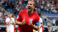 England's Harry Kane celebrates scoring his side's second goal of the game during the FIFA World Cup Group G match at The Volgograd Arena, Volgograd