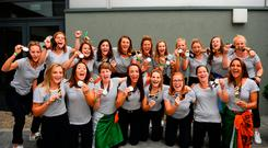 6 August 2018; Irish Hockey players during the Irish Hockey Squad homecoming from the Women's Hockey World Cup at Dublin Airport in Dublin. Photo by Eóin Noonan/Sportsfile