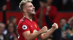Manchester United's Luke Shaw celebrates scoring his side's second goal of the game during the Premier League match at Old Trafford, Manchester.