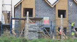 Builders removed scaffolding from the site at Dunmurray Rise two weeks ago as they hadn't received payment