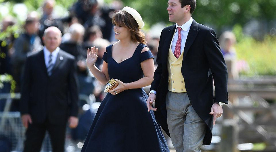 Princess Eugenie and and her partner Jack Brooksbank arrive at St Mark's church in Englefield, Berkshire, for the wedding of the Duchess of Cambridge's sister Pippa Middleton to her millionaire groom James Matthews at an event dubbed the society wedding of the year.