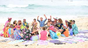 The Duke and Duchess of Sussex meet members of surfing community group One Wave during a visit to South Bondi Beach in Sydney, on the fourth day of the royal couple's visit to Australia.
