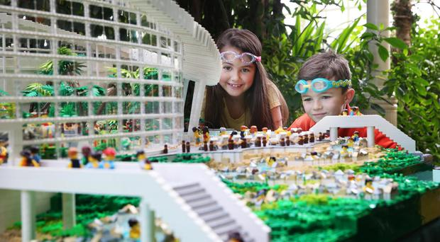 Center Parcs Ireland is set to make a splash as the company today revealed its plans for Ireland's largest waterpark, the Subtropical Swimming Paradise and announced that bookings are now open for winter 2019! Pictured is Aliya Keogh (8) and Ben Keogh (6) alongside a 55,667 Lego brick model replica of the waterpark which was created to celebrate the announcement and showcase all that the swimming paradise has to offer. For more information or to book a break to on Center Parcs Ireland, visit www.centerparcs.ie.