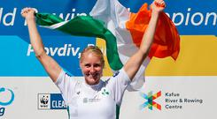 Gold medalist Ireland's Sanita Puspure smiles during the medals ceremony of the Women's Single Skulls at the World Rowing Championships in Plovdiv, Bulgaria, Sunday, Sept. 16, 2018. (AP Photo/Darko Vojinovic)