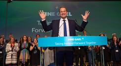 Taoiseach Leo Varadkar at the end of the 79th Fine Gael Ard Fheis in Citywest Picture by Fergal Phillips.