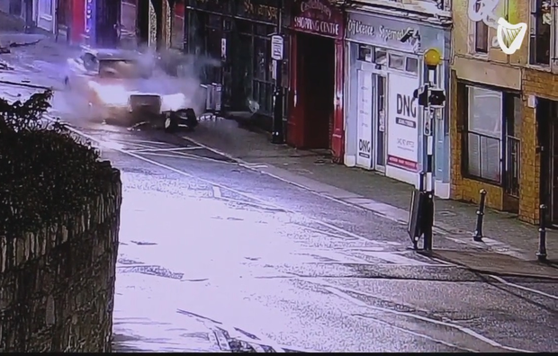 CCTV images shows the Audi colliding with objects on the main street in Castleblayney