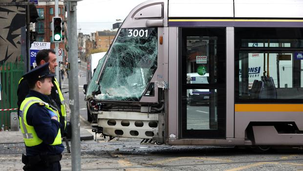 A truck and Luas that collided at the junction of Queen Street and Benburb Street in Dublin city. Pic:Mark Condren 30.3.2020