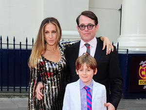 Sarah Jessica Parker and Matthew Broderick with their son James Broderick  arriving at the opening night of Charlie and the Chocolate Factory at the Theatre Royal, Drury Lane, London