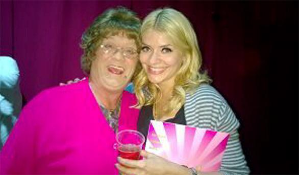 CHEERS: Holly Willoughby with Agnes Brown, aka Brendan O'Carroll