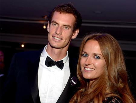 Great Britain's Andy Murray with girlfriend Kim Sears during the Champions Ball at the Intercontinental Hotel