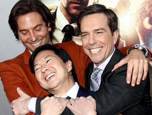 """Bradley Cooper, left, Ken Jeong, center, and Ed Helms pose together at the LA Premiere of """"The Hangover: Part III"""""""