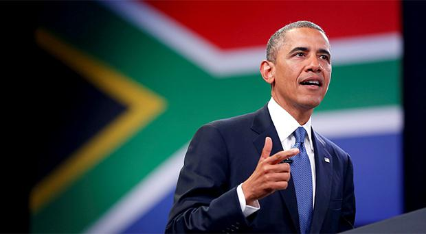 U.S. President Barack Obama participates in a town hall-style meeting with young African leaders at the University of Johannesburg Soweto