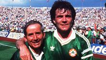 Republic of Ireland's Charlie O'Leary, left and Ray Houghton celebrate after defeating England.