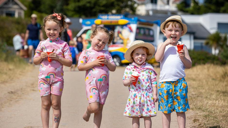 Bella and Layla Hughes and Annie and Jude Sheperd at Helen's Bay beach, Co Down. Photos: PA
