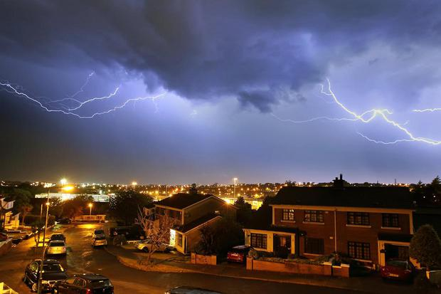 Ursuline Court in Waterford city, underneath a sky full of thunder and lightning. Photo: Noel Browne.