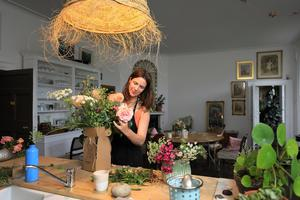 Lady Fionnuala Ardee pictured arranging some flowers in family kitchen at Killruddery House in Bray Co Wicklow. Picture: Frank McGrath