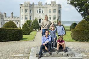 Catherine FitzGerald and Dominic West with their children Cristabel, 5, Francis, 9 and Senan, 10 at Glin Castle, County Limerick. Photo: Tony Gavin
