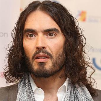 Russell Brand speaking at the launch of a new drug and alcohol education programme