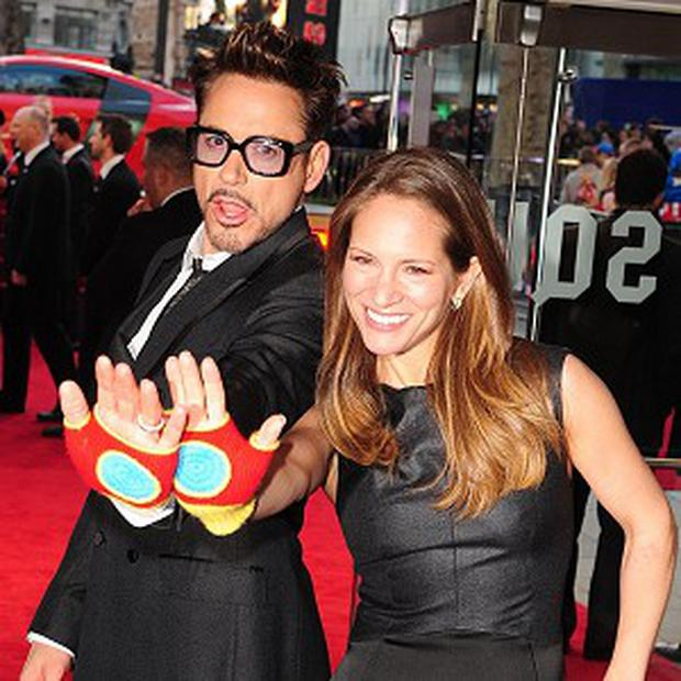 Robert Downey Jr attended the UK premiere of Iron Man 3 with wife Susan