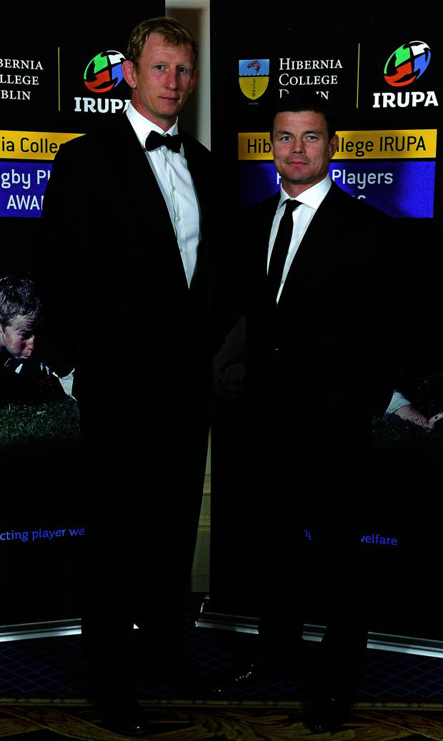 8 May 2013; Leinster's Leo Cullen, left, and Brian O'Driscoll in attendance at the Hibernia College IRUPA Rugby Player Awards 2013. Burlington Hotel, Dublin. Picture credit: Brendan Moran / SPORTSFILE