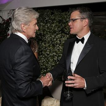 Michael Douglas and Matt Damon at the Behind the Candelabra party in Cannes (Todd Williamson/Invision/AP)
