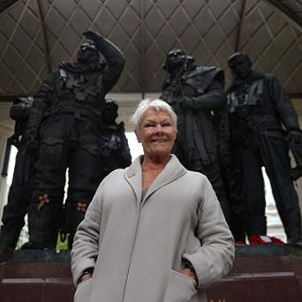 Dame Judi Dench during a visit to the Bomber Command Memorial in Green Park