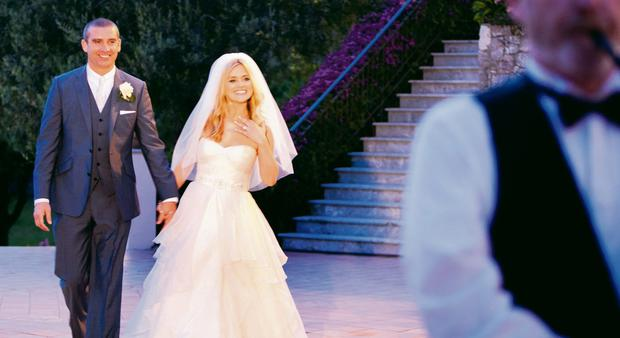Karen Koster and John McGuire at their Italian wedding. Picture: Jenny McCarthy