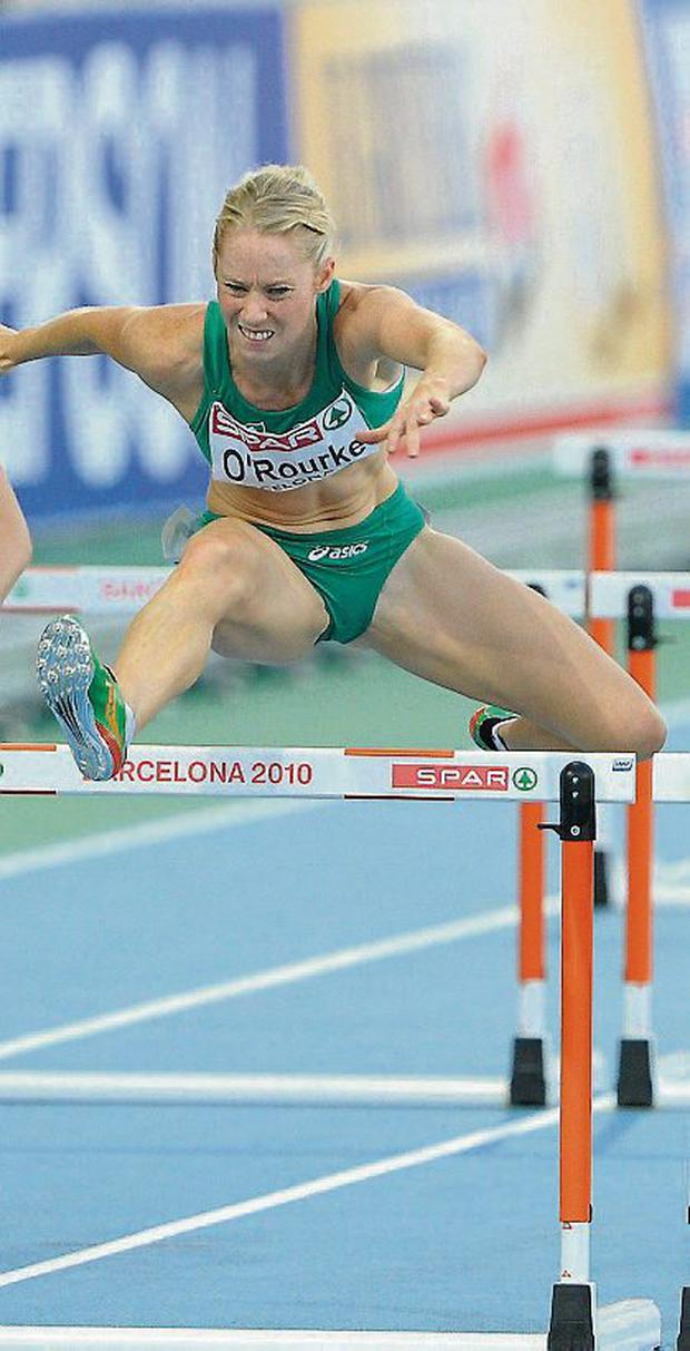 Derval O'Rourke on her way to winning silver in the Women's 100m Hurdles Final in a national record time of 12.65 sec, Brendan Moran / SPORTSFILE...ABC